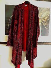Roman Dark Red / Black Animal Print Long Waterfall Cardigan Coat size 20