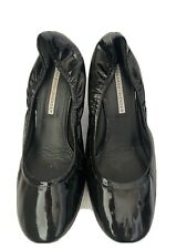 Vera Wang Lavender Ella Shoes Wedges Black Patent Leather Size 7 M