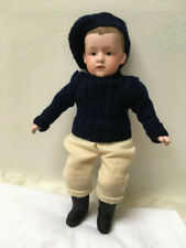 """Antique Doll Gebruder Heubach Pouty Character Boy 6688 9.5"""",rare flocked hair"""