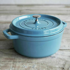 Staub 4 qt. Round French Cocotte in Ice Blue, New
