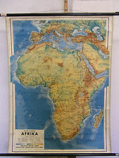 Schulwandkarte Wandkarte map Afrika Africa vintage 83x110cm ~1950 Karte aus Wien