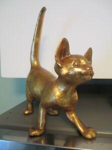 FREEMAN AND MCFARLIN POTTERIES CALIFORNIA CAT FIGURE GOLD