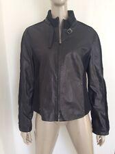 Giorgio Armani Collezioni Womens Black Lamb Leather Studded Jacket Zipper Sz 12