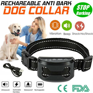Rechargeable Anti Bark Collar Stop Dog Barking Sound&Vibration S/M/L Adjustable