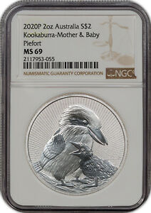 2020 P 2OZ  AUSTRALIA S$2 KOOKABURRA- MOTHER & BABY PIEFORT MS 69 RARE