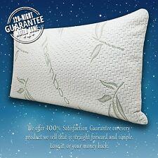 Cool Bamboo Pillow- Adjustable, Shredded Memory Foam Back, Stomach, Side Sleeper