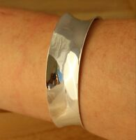 Solid 925 Sterling Silver Plain Cuff Bangle Bracelet 20mm Wide UK Hallmarked