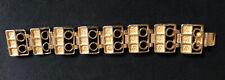 Robert Larin Mid Century Modernist Brutalist Gold Tone Openwork Panel Bracelet