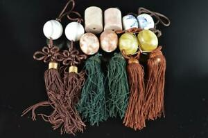 L1010: Japanese Stone jade/jewels HANGING-SCROLL WEIGHT Fuchin, Calligraphy tool