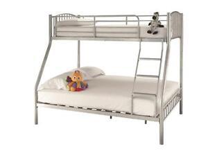 SILVER TRIPLE SLEEPER METAL BUNK BED,  BUDGET OR LUXURY MATTRESSES OPTIONS
