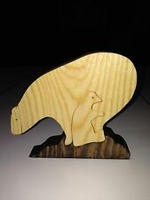 Wooden Polar Bear and Baby Scroll Saw Puzzle - Handmade - 3 Pieces - Stained