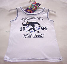 Carlton Blues AFL Mascot Boys White Printed Cotton Singlet Size 3 New