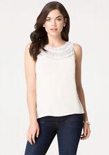 NWT Bebe white embellished yoke sleeveless top blouse M