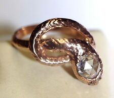 Wow! .85CTW Rose Cut Diamond 14K Rose Gold Snake Engagement Wrap Ring Size 6