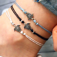 3pcs/set Women Turtle Pendant Anklet Bracelet Leather Foot Chain Beach Jewelry