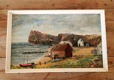 Original Vintage Mid Century Oil Painting on Board Signed British Seaside Coast