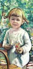 ALBERTO MUNOZ, Spanish 1925-, Young Girl with Flowers in a Garden, oil painting