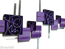 Contemporary Purple Square Wall Sculpture Hangings, wood metal- Violette  53x25