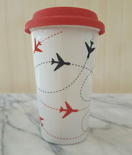 Ciroa PLANES Insulated Travel Mug Ceramic Coffee Cup Silicone RED Lid VACATION
