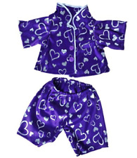 "Dark Purple Silver Heart Pj's Teddy Bear Clothes Outfit Fits Most 14"" - 18"" B."
