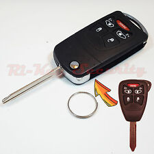New Flip Key Modified Case Shell For Chrysler Dodge Jeep Remote Key 5 Buttons 2D