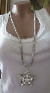 New Women's Necklace Star Long Rhinestone Silver Necklace Pendant Nickel-Free