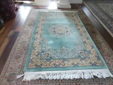 GOOD QUALITY ORIENTAL CHINESE HAND KNOTTED RUG 8'X4'LIGHT GREEN F-PILE