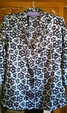 Ladies purple/black/silver abstract pattern satiny Blouse - size 12, 3/4 sleeve