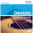 3 Sets D'Addario EJ16 Phosphor Bronze Light Acoustic Guitar Strings 12-53