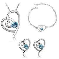 Schmuckset Kette Ohrringe Armband Herz Anhänger Silber Blau Swarovski® Kristall