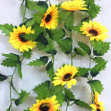 230cm Silk Sunflower Ivy Vine Artificial Flowers Green Leaves Hanging Garland