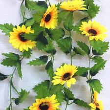 Pretty Silk Sunflower Ivy Vine Artificial Flowers Green Leaves Hanging Garland