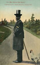 Well dressed Black Americana Reverend holding bible top hat chicken Postcard