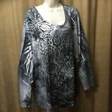 b98483f24e3 NEW Womens Top 4X Plus Sequins Shirt Long Sleeve Gray Black Fashion Bug