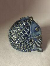 K116: Korean Antique Blue Porcelain Fish Shaped Water Dropper. Choson Dynasty
