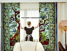 Indian Tree of Life Curtains Bohemian Cotton Door Cover Drape Twin Tapestry Art