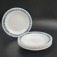 "Set of 6 VTG Corelle Old Town Blue Flat Rimmed Soup Pasta Bowls 8-1/2"" NOS Onion"