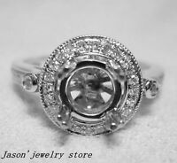 Solid 14k white gold natural diamond semi mount engagement ring
