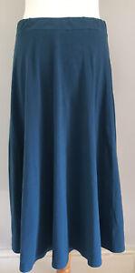 People Tree women's teal blue organic cotton & elastane full skirt size 12
