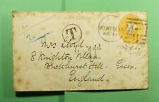 DR WHO 1881 INDIA MT ROAD FANCY CANCEL STATIONERY TO ENGLAND POSTAGE DUE f53675