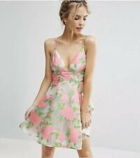NWT Asos Floral Organza Pinny Mini Prom Dress Pink Roses Size US0 UK4