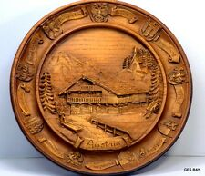 Vintage Carved Plate Plaque Austria Wooden Resin 3D Wall 1983 Sagaofluck