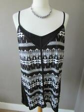 OASIS Ladies Black & White Patterned Strappy Cami Top Festival Vest Size L BNWT
