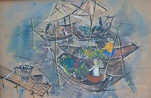 KAMALAS, Gouache on Paper, Oriental River Floating Market Scene, Signed, 1968