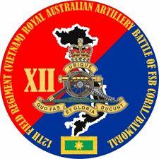 12TH FIELD REGIMENT RAA BATTLE OF FSB CORAL/BALMORAL LAMINATED VINYL STICKER