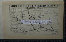 1920 Vintage Railway Map of Midland Great Western Railway - Dublin, Ireland