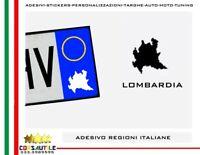2X ADESIVO REGIONI ITALIANE STICKER per AUTO MOTO TARGA PRESPAZIATO VINILE FORMA