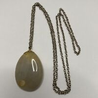 Agate Pebble Style Pendant Long Necklace Silver Gold Tone Natural