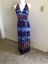 NWT Victoria Ladies M/L Royal Blue Print/ Butterfly Halter Style Maxi Dress