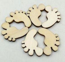 50Pcs Wooden Baby Feet Shapes Laser Cut Blank Embellishments Craft 20MM